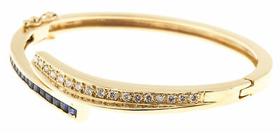 Vintage .40ct Square Sapphire .50ct Diamond 14k Yellow Gold Bangle Bracelet