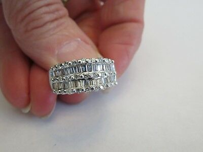 platinum 950 2.00 ct round and baguette 9 mm wide si1 2 g band ring sz 6