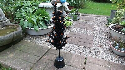 collectible halloween spooky black feather tree w/ orange beads and black base