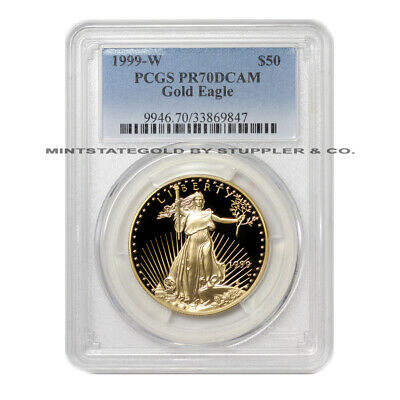 1999-w $50 Eagle Pcgs Pr70dcam Proof Deep Cameo West Point Mint Gold Bullion