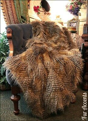 Brown Pheasant Feather Throw Blanket Luxury Faux Fur Minky Cuddle Fur Lined