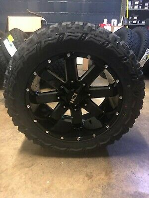 """20x10 Ion 141 33"""" Mt Black Wheel And Tire Package Set 6x5.5 2019 Dodge Ram 1500"""