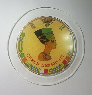Egyption Plate Queen Nefertiti Saucer Design Tray Of Cup Gold Plastic