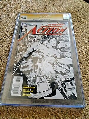 Action Comics #1 Sketch Cover Cgc 9.8  Signed By Rags Morales (new 52)