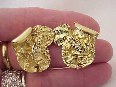Designer 18k Solid Gold & Diamonds Frog On Lily Pad Earrings Pierced Rare Find