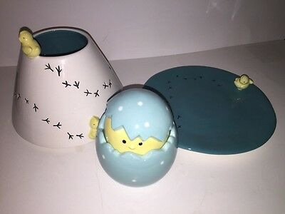 """Yankee Candle """"easter Chick"""" Ceramic Jar Candle Shade/plate/t/l Holder New Box"""