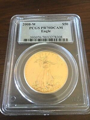 2008-w Pcgs Pr70 Dcam $50 Proof Gold Eagle 1 Ounce Gold Pf West Point