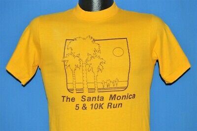 Vintage 80s The Santa Monica 5 & 10k Run Palm Tree Runner T-shirt Extra Small Xs