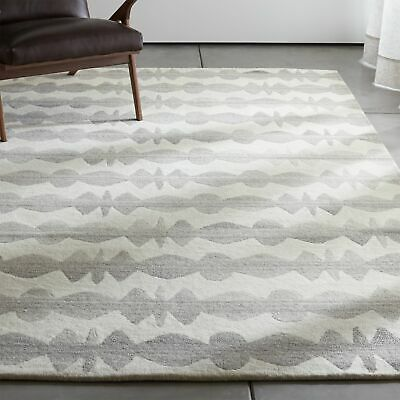Area Rugs Graphite Neutral Striped Crate & Barrel All Size Hand Tufted Carpets