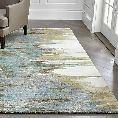 Area Rugs Birch Cyan Wool-blend Abstract Hand Tufted Crate & Barrel Soft Carpet