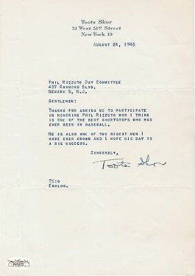 Toots Shor Autographed 1948 Letter Thanking Ny Yankee Phil Rizzuto Day Very Rare