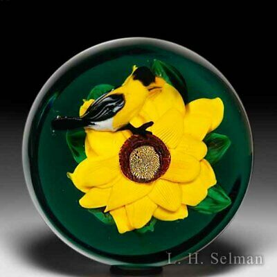 Rick Ayotte 2009 Sunflower And Goldfinch Magnum Glass Paperweight