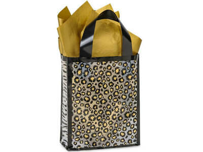 Leopard Safari Plastic Cub Size Frosted Gift Bag Choose Tissue & Pack Amount