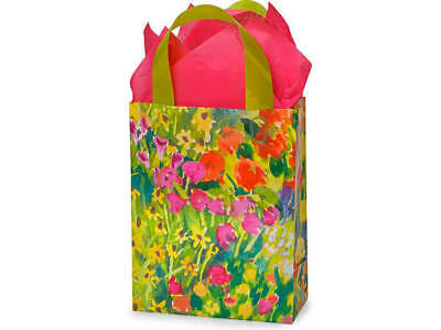 Watercolor Garden Plastic Cub Size Gift Bag Choose Tissue & Pack Amount