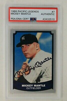 Mickey Mantle Ny Yankee Hof Autographed 1988 Pacific Legends #7 Signed Card Psa