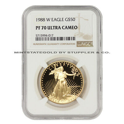 1988-w $50 American Gold Eagle Ngc Pf70ucam 1oz Proof Deep Cameo West Point Mint