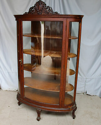 Antique Oak Curio China Cabinet – Very Unusual Style With Five Curved Glass Pane