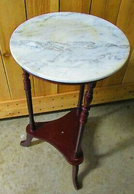 Vintage Marble Top Table With Wood Legs, Estate Find