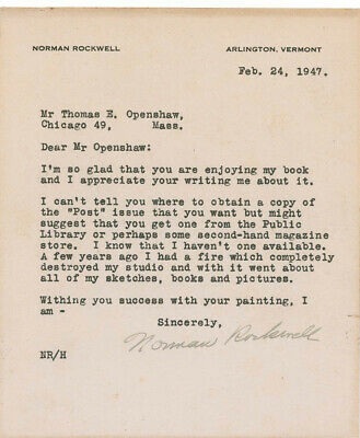 Norman Rockwell - Typed Letter Signed 02/24/1947