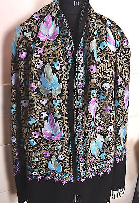 Colorful Pashmina Shawl~100% Cashmere Embroidery All Over ~ 16 Designs Choice