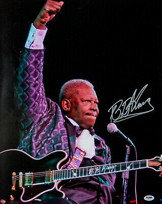 """Bb King Autographed 16"""" X 20"""" Photo Lucille Signed. Psa Dna Coa B.b. King"""