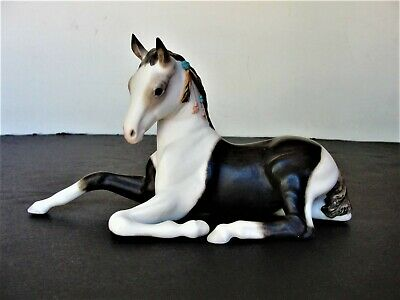 Vintage White-brown Gorgeous Horse Ceramic-porcelain Figurine With Stamp.