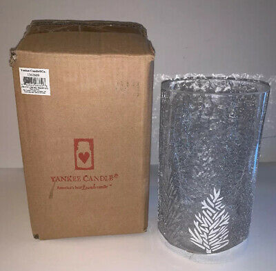 "Yankee Candle ""crackle Trees"" Cylinder Jar Holder Clear/white & Silver Trees Nib"