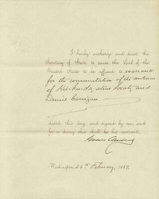 Grover Cleveland - Presidential Warrant Signed 02/26/1889
