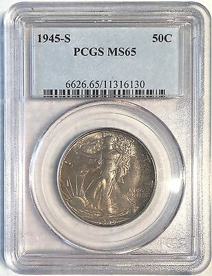 1945-s Walking Liberty Half Dollar - Pcgs Ms65 - High Quality Scans #6130