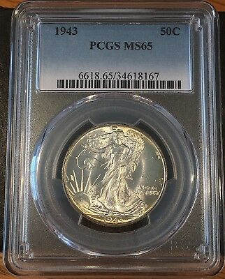 1943 Walking Liberty Half - Pcgs Ms65 - High Quality Scans #8167