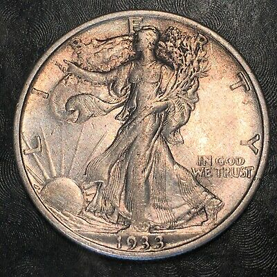 1933-s Walking Liberty Half Dollar - Totally Original - High Quality Scans #h877