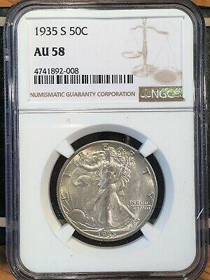 1935-s Walking Liberty Half - Ngc  Au 58 - High Quality Scans #2008