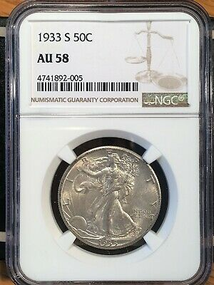 1933-s Walking Liberty Half - Ngc  Au 58 - High Quality Scans #2005