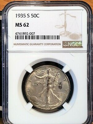 1935-s Walking Liberty Half - Ngc  Ms 62 - High Quality Scans #2007