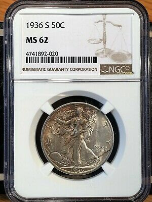 1936-s Walking Liberty Half - Ngc  Ms 62 - High Quality Scans #2020