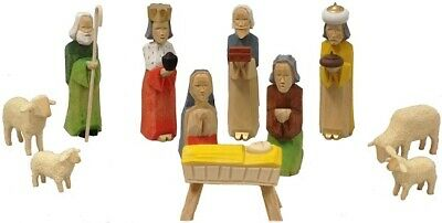 Colored German Carved Wood Christmas Nativity Scene Set Of 11 Pieces  Germany