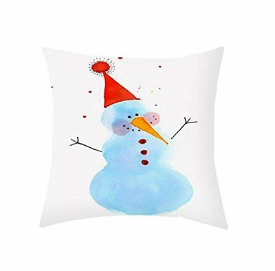 Snowman Cushion Pillow Cover Premium Cotton Pillowcase 16x 16  Inch Sofa Throw