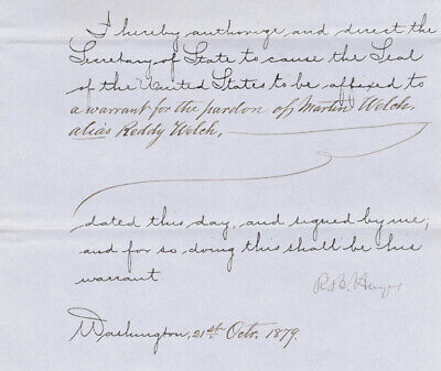 Rutherford B. Hayes - Presidential Warrant Signed 10/21/1879