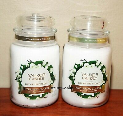 New Yankee Candle Lily Of The Valley Large Candle Jar 22oz X 2