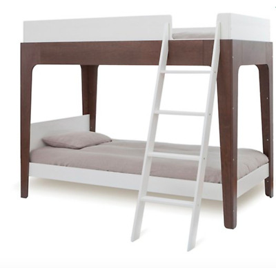 New Oeuf White/walnut Kids Room Twin Loft Perch Bunk Bed W/upper And Lower Bed
