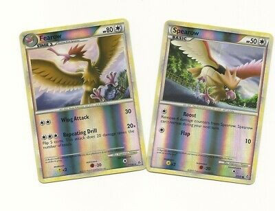 RARE FEAROW #15 & SPEAROW #62 - HS UNLEASHED Pokemon Card Set - REV HOLO NM/M