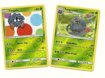 Pokemon RARE TANGROWTH 2/214 & TANGELA 1/214- 2 EVO Set-REV HOLO- LOST THUNDER