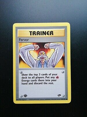 1st Edition Fervor Trainer 124/132 - Gym Challenge Pokemon Card PSA