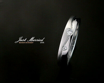 just married  18k(750) white gold curve design diamond wedding band