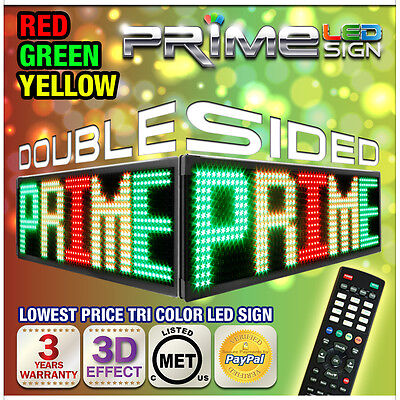 """30mm Rgy Tri-color 79""""x22"""" Double Sided Outdoor Programmable Scrolling Led Sign"""