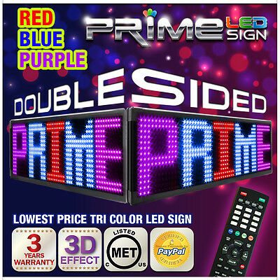 """20mm Tri-color Red Blue Purple 91""""x15"""" Double Sided Programmable Scroll Led Sign"""