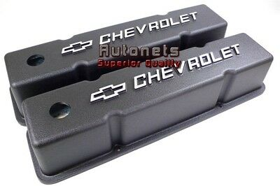 Small Block Chevy 283 305 287 350 Aluminum Valve Cover Black Chevy Bowtie Logo