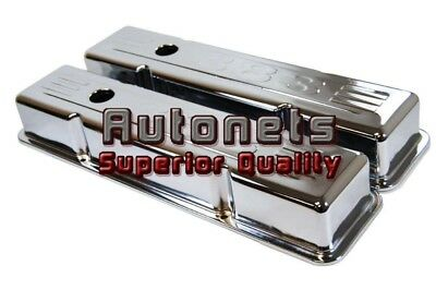Sbc Chevy Chrome Steel Small Block 383 Stamped Logo Valve Cover 283 350 Short