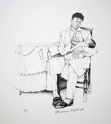 "Norman Rockwell Hand Signed 1972 Original Lithograph - ""two O"