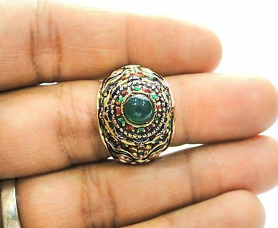 rare! vintage antique collectible solid 19k gold jewelry enamel work ring